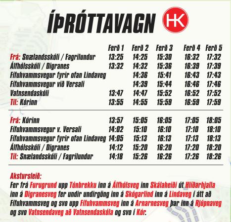 Áætlun íþróttavagns HK fyrir næsta vetur.