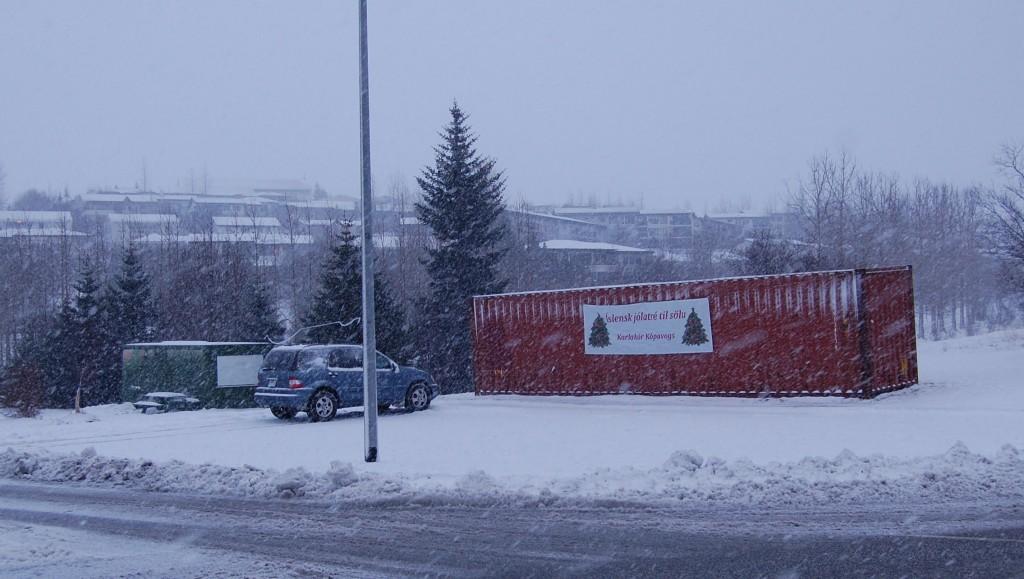 Jólatrésala Karlakórs Kópavogs er þarna á bak við jólasnjókornin - við Sorpu á Dalvegi.